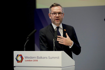 Germany's Minister of State for Europe Michael Roth during his press conference with British Minister of State for Europe and the Americas Alan Duncan and Polish Minister of Foreign Affairs Jacek Czaputowicz at the Western Balkans Summit in London