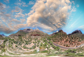 Zion National Park panoramic aerial view at sunset, Utah