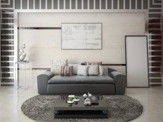Mock up a stylish living room with a fashionable comfortable sofa and modern interier.