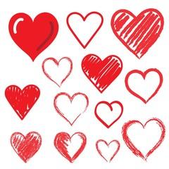 Set of hand drawn hearts. Design element.