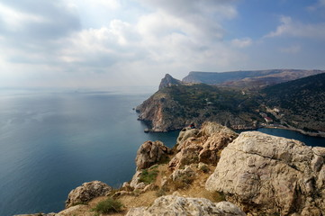 Black Sea. View of the Balaklava cape and Balaklava Bay on a cloudy autumn day.