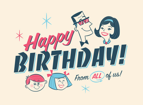 Vintage Style Birthday Card - Happy Birthday From All of us!