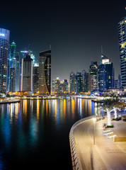 Dubai marina modern and shiny skyscrapers view at night