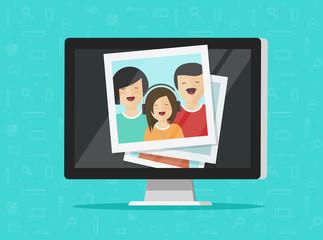 Photos on computer screen vector illustration, flat cartoon photo cards on pc display, idea of photography gallery viewing, multimedia album, digital photos