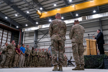 Secretary of State Mike Pompeo speaks to coalition forces at Bagram Air Base