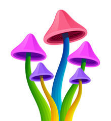 Magical bright mushrooms on a white background