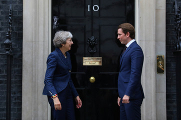 Britain's Prime Minister Theresa May welcomes the Chancellor of Austria, Sebastian Kurz to 10 Downing Street in Westminster, London