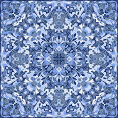 Elegant square light blue abstract pattern. Can be used to design pillows, scarves, neckerchief, bandanna, cushion.