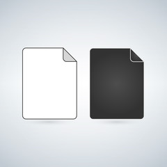 Black and white File Icon, vector illustration isolated on white background.