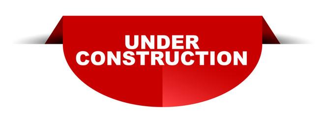 red vector round banner under construction