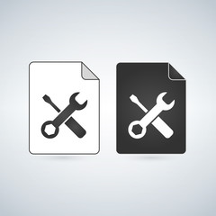 Black and white settings File Icon, vector illustration isolated on white background.