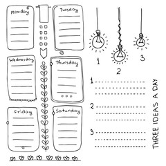 Bullet journal hand drawn vector elements for notebook, diary and planner. Doodle banners isolated on white background. Days of week, notes, list, frames, dividers