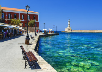Foto auf Acrylglas Stadt am Wasser famouse venetian harbour waterfront of Chania old town, Crete, Greece
