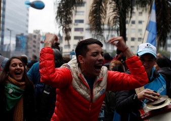 Demonstrators attend a protest against the President Macri's government agreement with the IMF in Buenos Aires