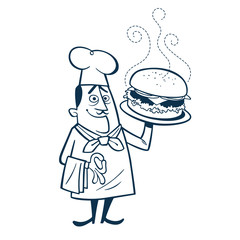 Vintage Style Clip Art - Chef With Large Hamburger - Vector EPS10.