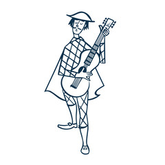 Vintage Style Clip Art - Harlequin Playing Guitar - Vector EPS10.