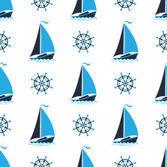Sailing boat on the waves. Captain's wheel. Seamless nautical pattern.