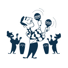 Vintage Style Clip Art - Latino Musicians and Singers with Percussion Instruments - Vector EPS10.