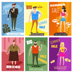Cards for selling clothes, different sizes, characters for men and women, large-scale clothing, modern style graphics, posters, banners, advertising, vector, isolated