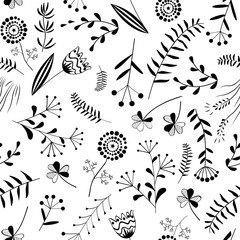 Wall Mural - Seamless pattern with wild herb