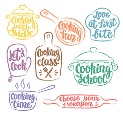 Collection of grunge colour contoured cooking label or logo. Cooking vector illustration with hand written lettering, calligraphy. Cook, chef, kitchen utensils icon or logo.