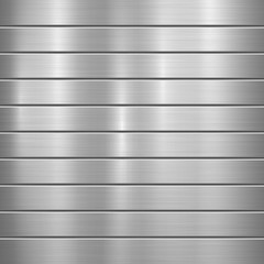 Fototapete - Metal technology background with polished, brushed texture, chrome, silver, steel, aluminum and horizontal bevels for design concepts, web, prints, wallpapers, interfaces. Vector illustration.