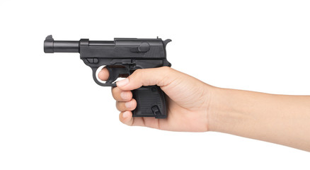 hand holding toy gun isolated on white background