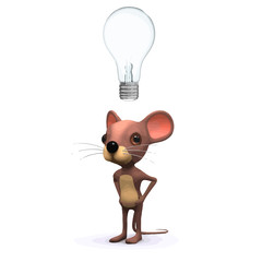 Vector 3d Funny cartoon mouse has an idea represented by a lightbulb floating over its head