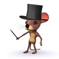 Vector 3d Funny cartoon mouse wearing a magicians top hat and waving a magic wand