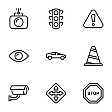 Set of black vector icons, isolated on white background, on theme Road traffic