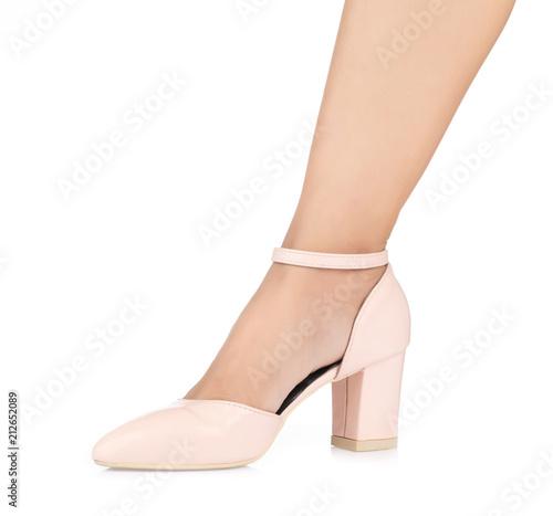 53f2124d3b2 Beautiful female leg in Beige female strap heels leather stiletto ...