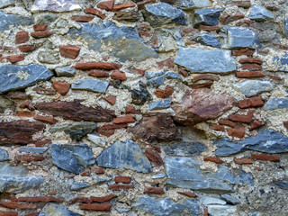 old brick and stone mixed wall