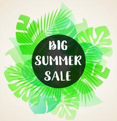 Green banner for seasonal summer sale.