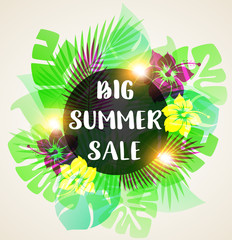 Abstract banner for seasonal summer sale.