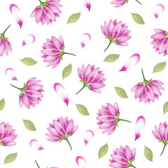 Watercolor hand painted seamless pattern of pink flowers.