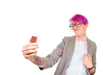 Expressive millennial woman taking selfie