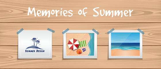 Memories of summer. Summer design set. Photos about summer rest are attached with an adhesive tape to the wooden board. Vector illustration