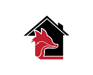 animal fox real estate home  logo design template ,Vector illustration