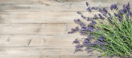 Lavender flowers rustic wooden background Vintage toned
