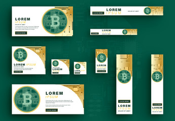 Bitcoin Web Banners with Green and Gold Elements
