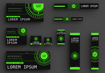 Web Banners with Lime Green Accents