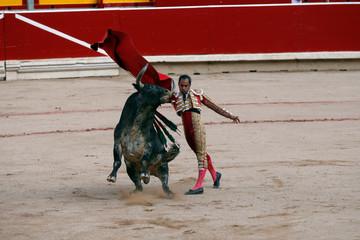 Panamanian Bullfighter Luis Bolivar performs a pass during a bullfight the San Fermin festival in Pamplona,