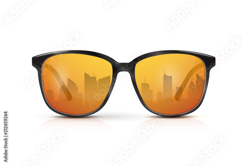 d3de29247b Reflection of the city in the glasses. Vector realistic modern eyeglasses  with gold gradient lens. Summer vacation holiday beach pool party.