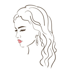 Young woman face, fashion sketch, black and white linear face drawing. Vector illustration, poster, banner, logo