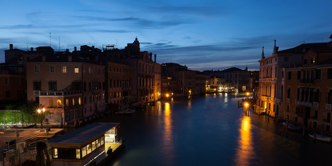 Evening sets on the Grand Canal in Venice Italy.