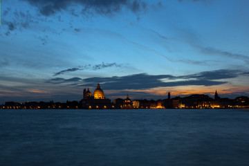 Sun's final lights over Venice in Italy
