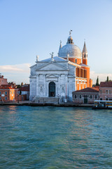 View at lagoon and San Giorgio Maggiore church in Venice, Italy