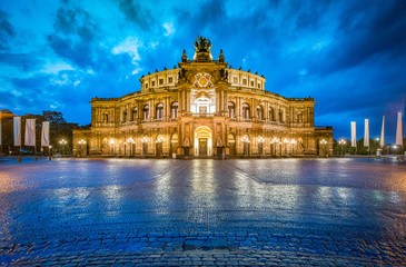 Dresden Semperoper with dramatic sky at twilight, Saxony, Germany