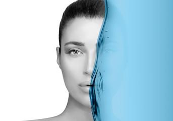 Face portrait of a beautiful woman. Skin care concept