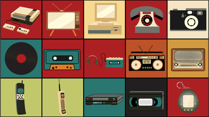 Set of old retro vintage hipster technology, electronics music vinyl, audio and video cassette tape recorder TV game console phone camera and player from the 80's, 90's on colorful backgrounds.